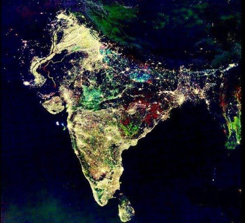 Satellite image of India during Diwali Night festival of lights.