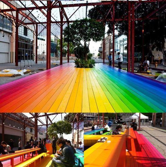 The table outside MOCA, Little Tokyo, Los Angeles.