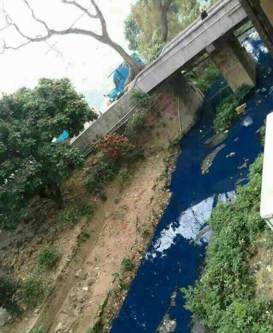 polluted water blue
