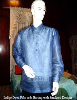 indigo dyed pina-seda barong