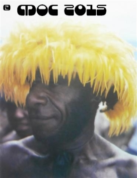 The male populace of the Dani tribe spends many hours decorating their bodies. Headwear or headdress are created out of feathers inserted into either a rattan coil or hand woven hamlet. Even feather dusters are used to creative advantage! --- Iria Jaya
