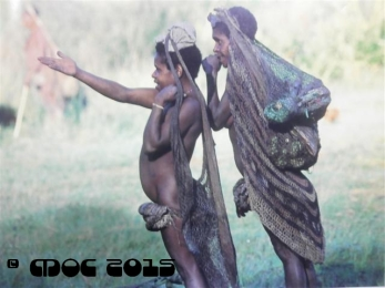 """Jale women greet passerby as they make their way to Anggruk. The ruffle-like skirts """"kam"""" are worn by females after the age of five years. Every fifth year another ruffle is added until she is married, which is usually between fifteen or twenty years of age -- Iria Jaya"""