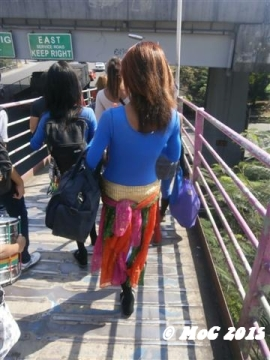 a lady boy after a group music dance performance in Pasay