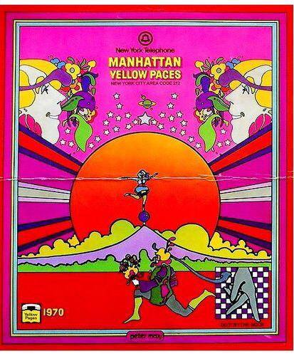Peter Max Cover for Manhattan New York Yellow Pages Telephone Book! 1970_1960s and 1970s Artwork and Design FB